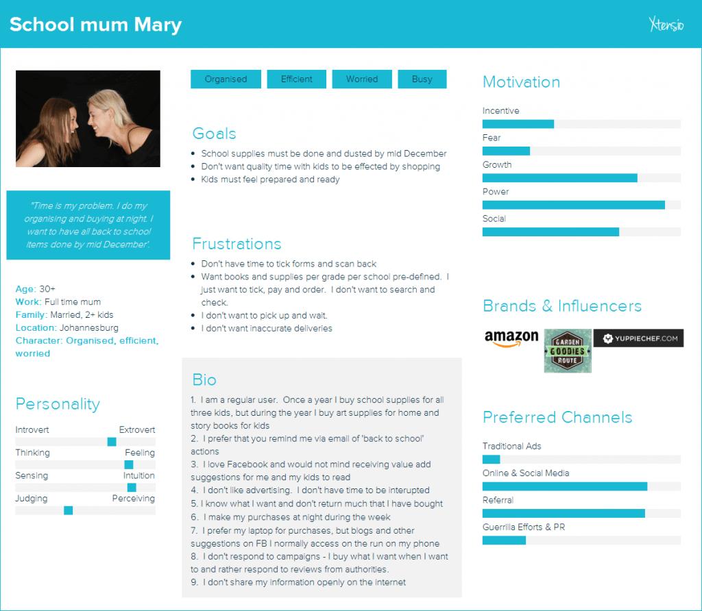 School mum Mary customer persona - Comalytics (PTY) Ltd
