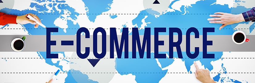 The words e-commerce written over a map of the world