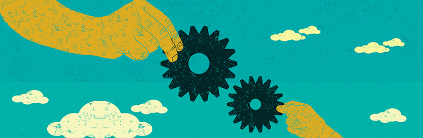 Illustration of two hands holding gears together
