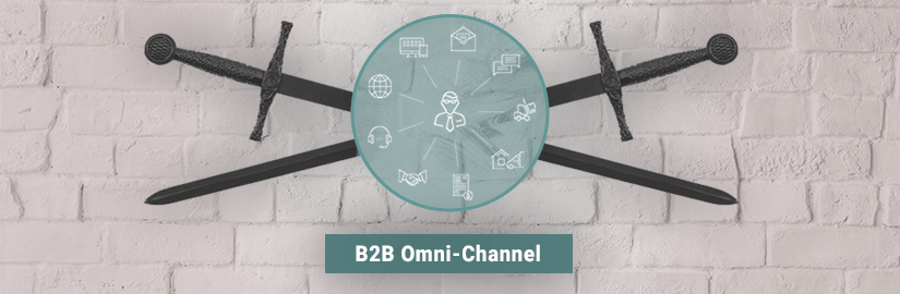 A basic diagram showing how b2b omni-channel works on top of a round disk like object with two crossed swords behind it