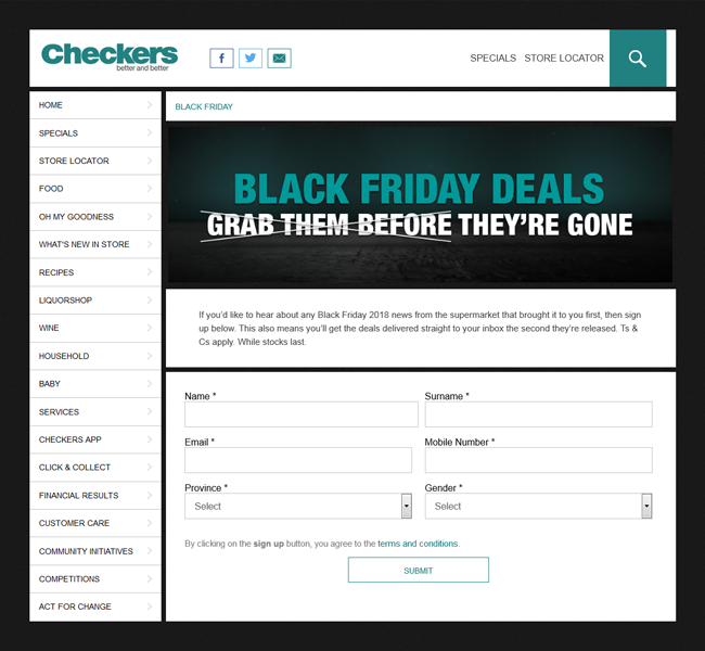 This is a screenshot of Checkers Black Friday promotion page. At the bottom of the screenshot is a form on the page that allows users to fill in their details so that they can keep the consumer up to date with their Black Friday deals and news.