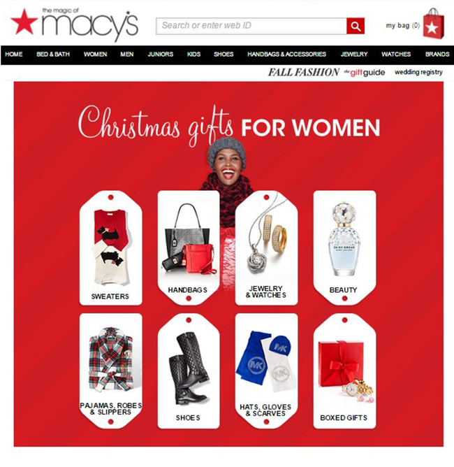 Image of marcy's home page. With cristmas ideas for woman