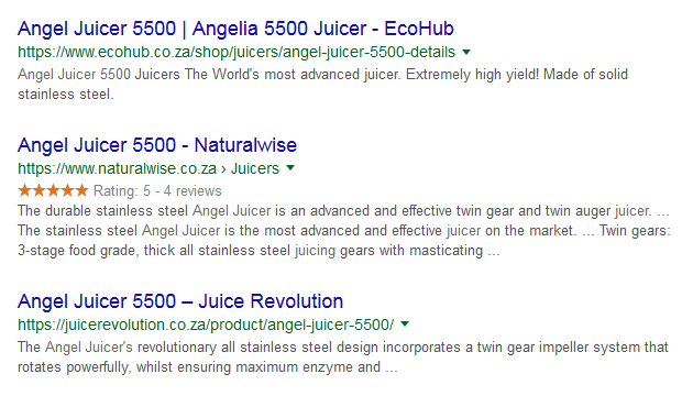 Naturalwise using Google customer review to get ahead of their compatition on google search results