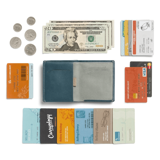A bellroy wallet with all the things that it can fit arround it. Credit cards, bank notes, coins and other loyalty cards.