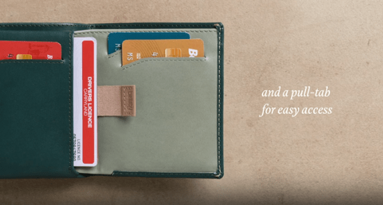 Bellroy product image of one of there slim design wallets. Featuring a pull out tab for extra cards.
