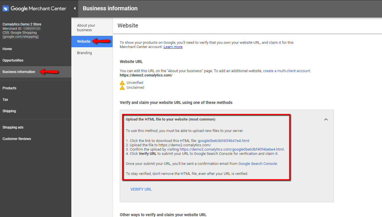 How you can verify your site - setting up your google customer review.
