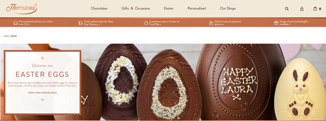 Screenshot of Thorntons website showing their Easter promotion.