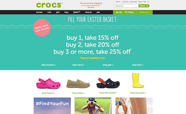 Image or screenshot of the crocs (the rubber sandals) website showing a special that they are running. The more you buy from them the more your discount.