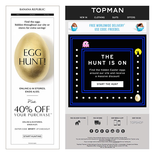 Screenshot of two webvsites. the first one being Banana Republic and the second one being Topman. Both of thease sites are showing their Easter discound. A digital easter egg hunt. Find Easter eggs on their site and get discounts.