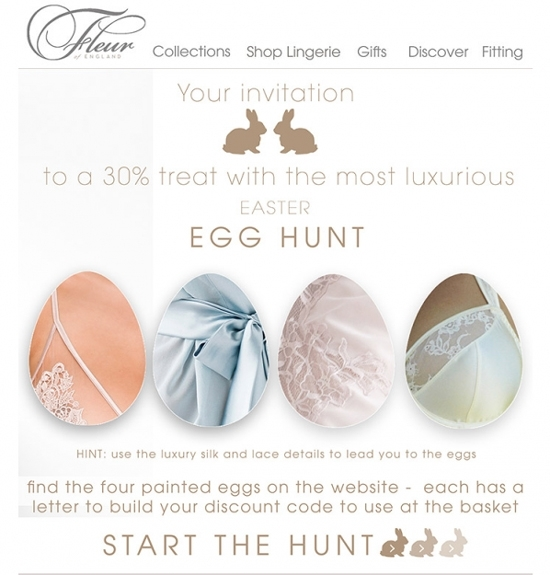 A screenshot of the Fleur website promoting their Easter discount. They are also promoting a digital Easter hunt. Find Easter eggs on their site and get discounts.