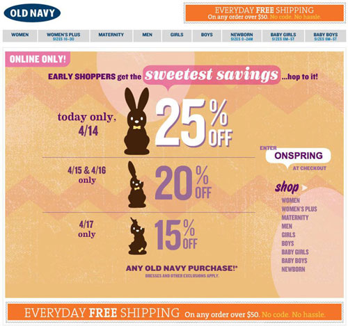 Screenshot of the old navy website showing their Easter discount. Their discount is, the sooner you buy from them the more of a discount you get.