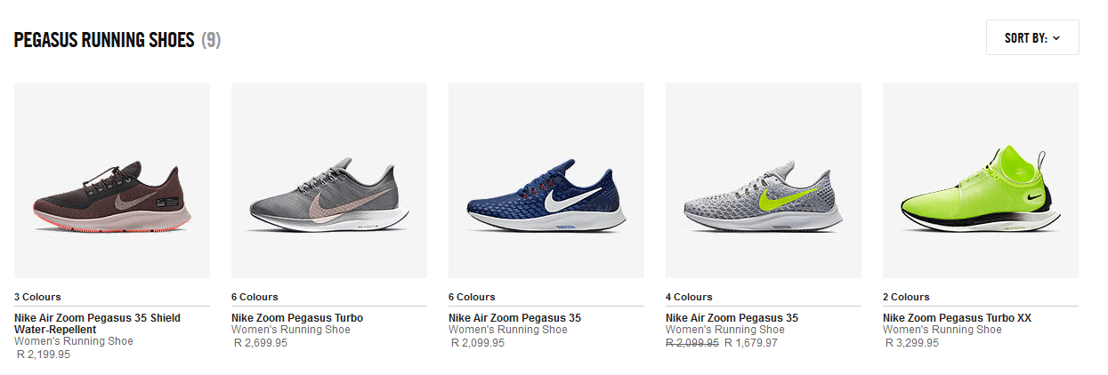 Image of some of the products on the Nike website. The products are Womans Pegasus running shoes. Below the product images there is a little information on the shoe.