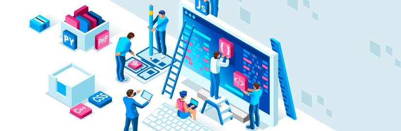 Flat design showing people building a successful website template