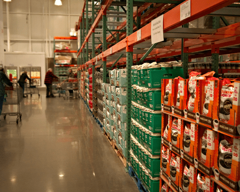 Products in a warehouse.