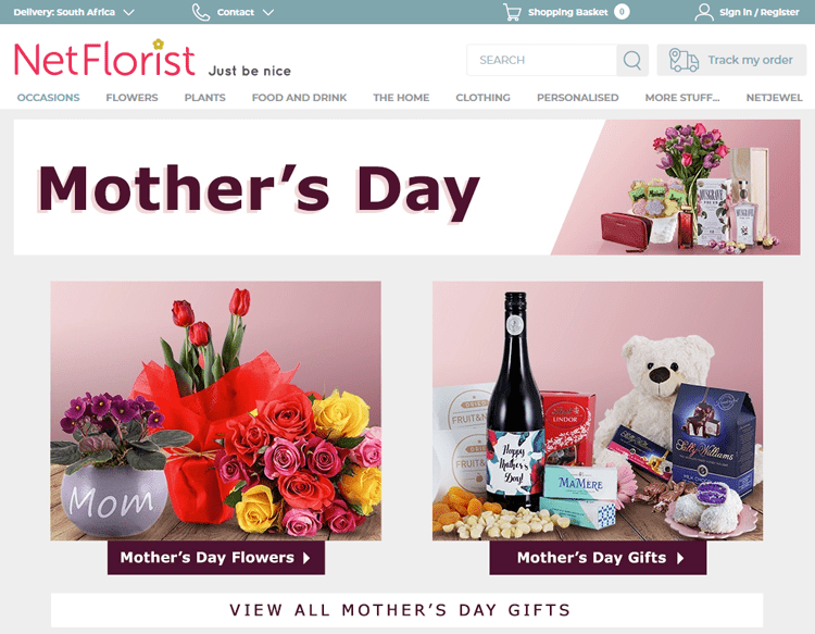 Screenshot of netflorist, showing how they promote mother's.