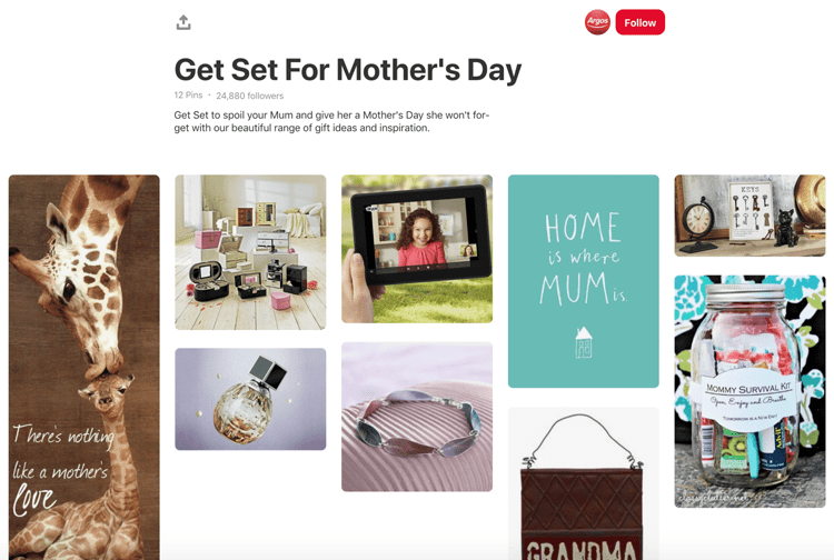 Screenshot of printerest showing ideas for mother's day.