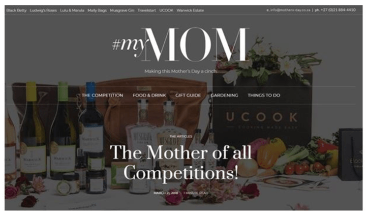 Screenshot of the mothers day website.