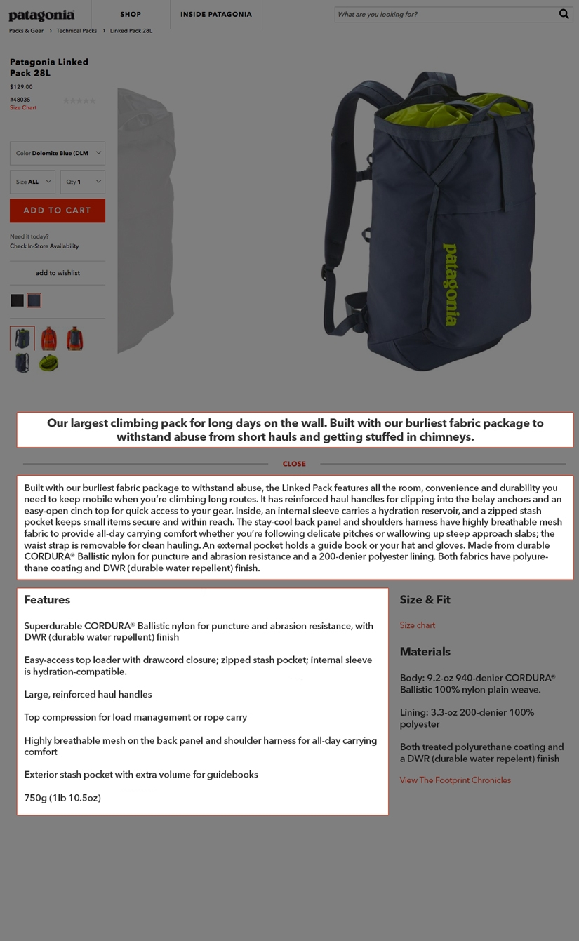 Screenshot of the a Pategonia product page. High-lighting the product short description, long description and features.