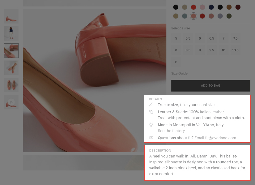 A screenshot of the Everlane website showing one of their products and that language that they use. In this example, the language makes the customer feel like they are having a conversation with a friend
