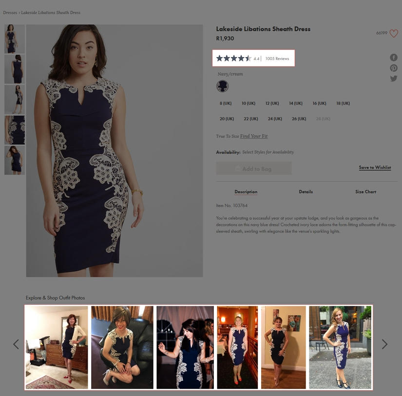 Image showing how Modcloth used comments or photos from your social media sites. Modcloth uses both product reviews and images of customers wearing their purchases to provide social proof