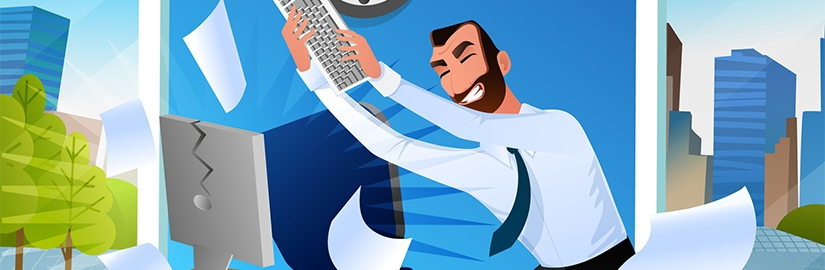 A cartoon illustration of a business man using his keyboard to hit is computer screen implying that he is frustrated