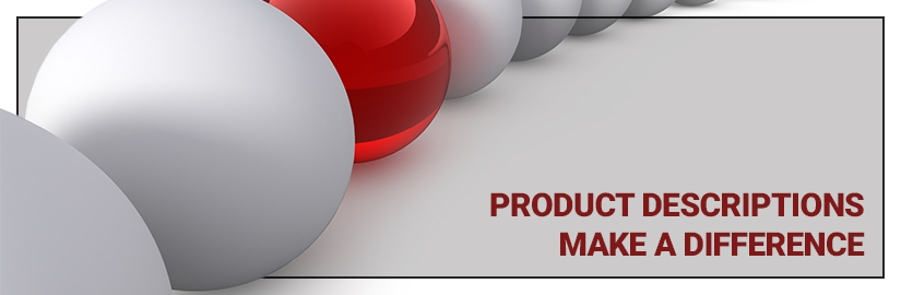 Featured banner image containing text. Text reads: Product descriptions make a difference.
