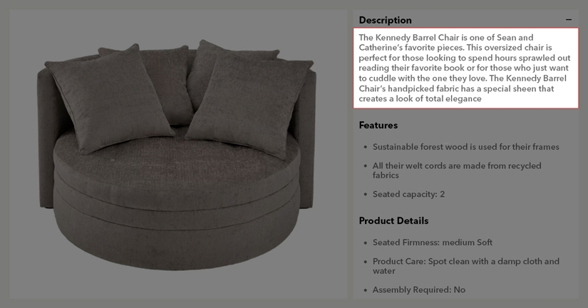 Screenshot of the wayfair Kennedy Barrel Chair product page. This image is high-lighting the product description