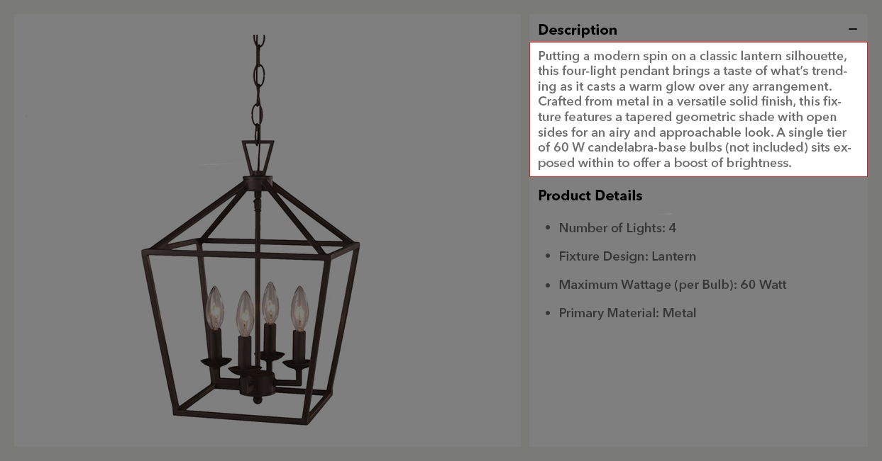 Screenshot of the wayfair classic lantern product page. This image is high-lighting the product description