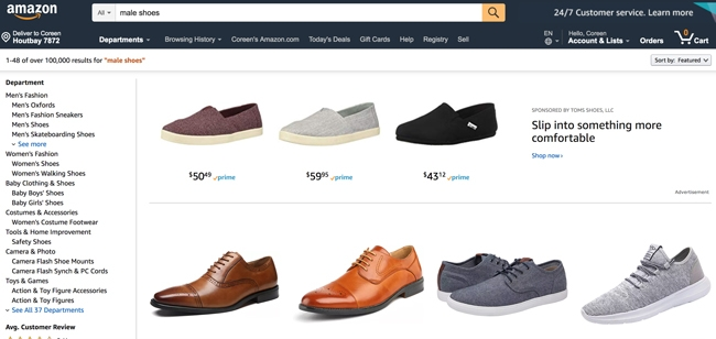 "For the query ""male shoes"" vs ""men's shoes"", Amazon  displayed these results."