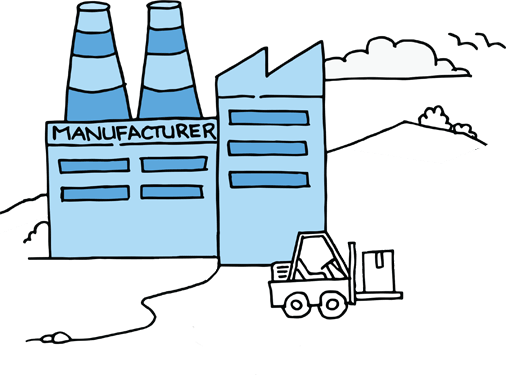 Sketch of a warehouse and a forklift