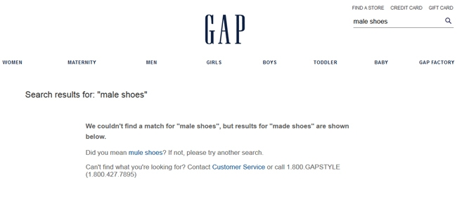 "Screenshot of the GAP. The GAP only  displayed results when the query was changed to ""men's shoes""."