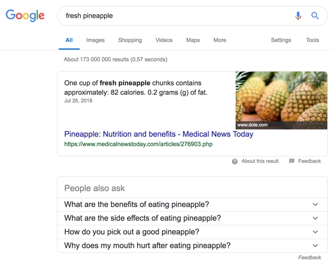 Google search for fresh pinapples