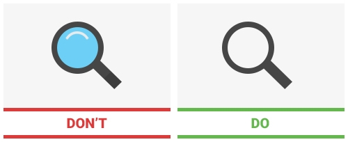 What not to do and what works best when it comes to search icons.