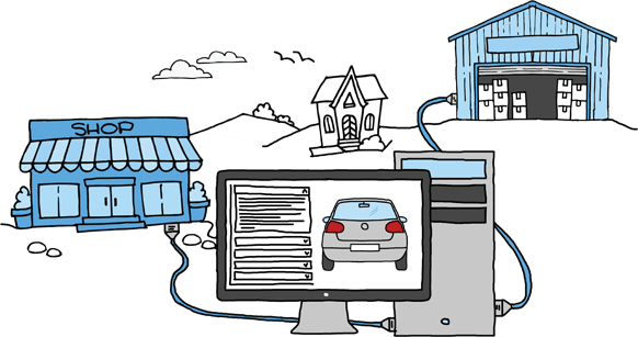 Sketch of a computer plugged into a shop and a warehouse