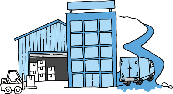 Sketch of a warehouse, forklift and truck
