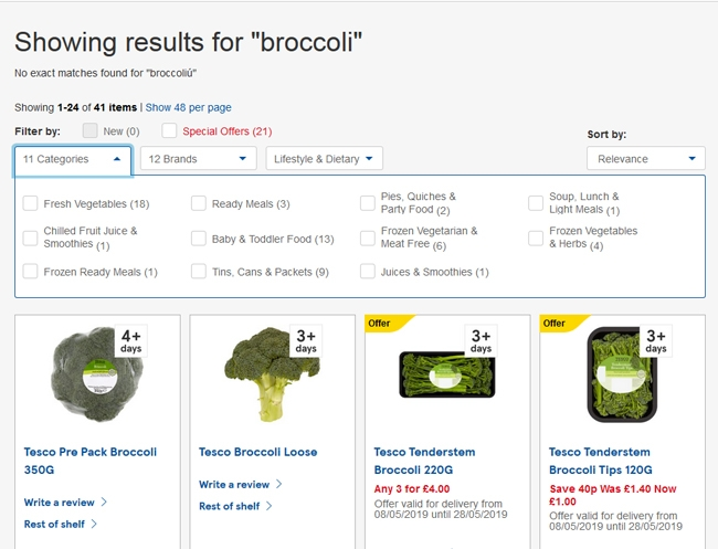 Functionality from Tesco that allows a user to narrow down their search