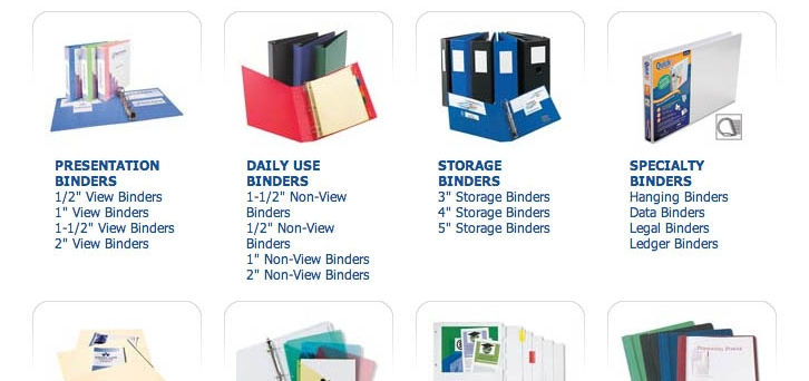 Screenshot of a products where the customer has to choose a type of binder upfront, either for presentations, daily use or storage, even if they don't yet know the difference.