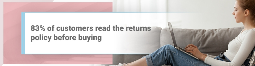 83% of customers read the return policy before buying