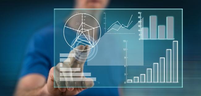 Man touching data analysis concept screen