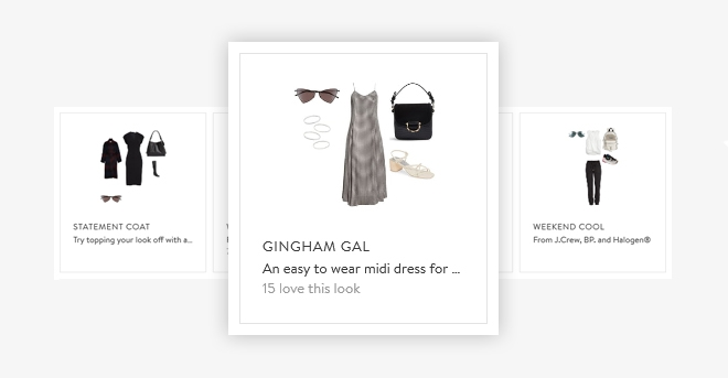 An example of how Nordstrom provides a 'sunglass fit guide' as well as helpful 'looks' the customer can wear with the sunglasses.