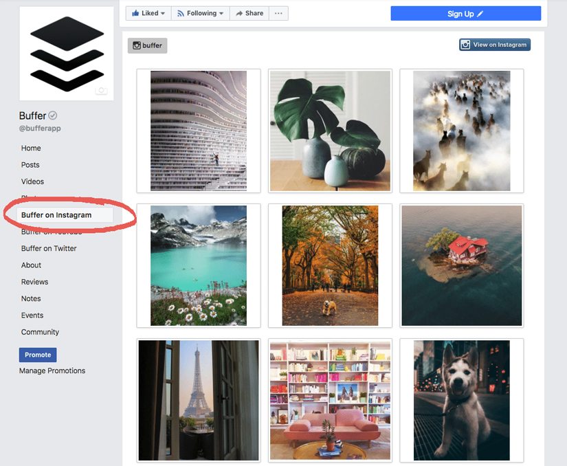Buffer's Facebook page displays links to their Instagram, YouTube and Twitter pages in the left menu. This helps their Facebook fans to easily discover their Instagram page.