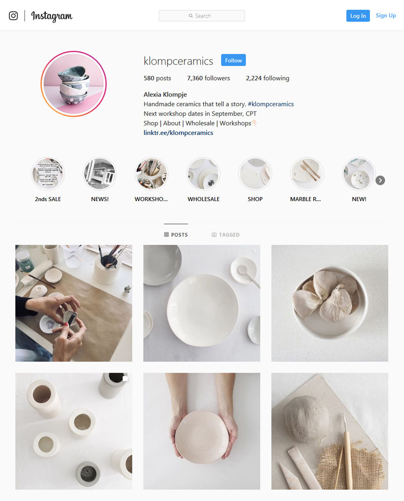An example of how local ceramics brand has created a beautiful feel flowing through their instagram page