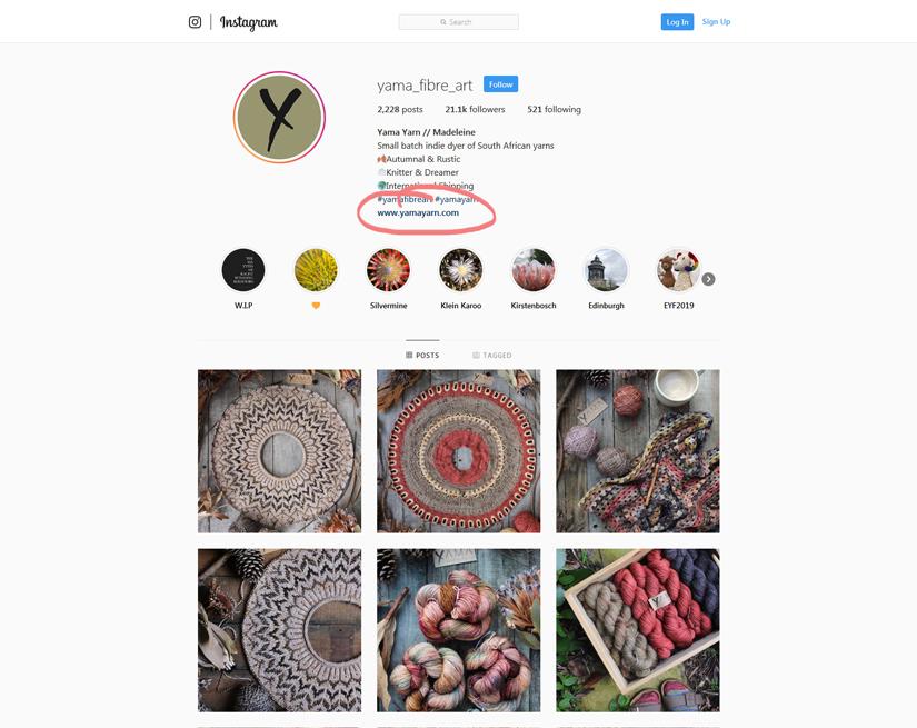 Yamayarn's instagram acount
