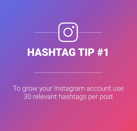 Tip: To grow your instagram account use 30 relevant hashtags per post