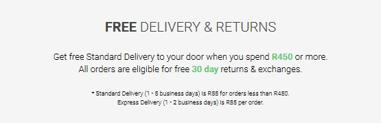 Image of a banner that indicates free delivery and returns