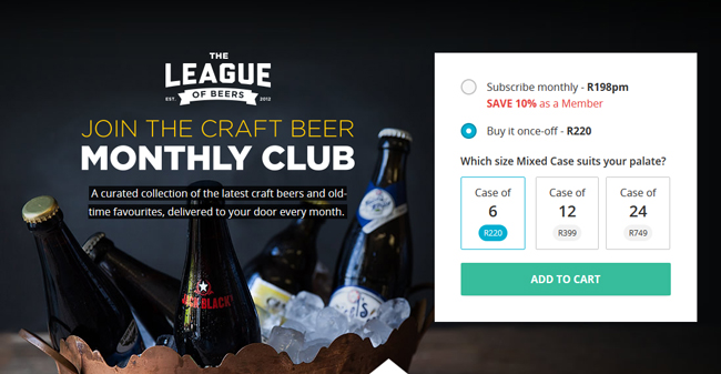 Screenshot of league of beer sign up page from yuppie chef