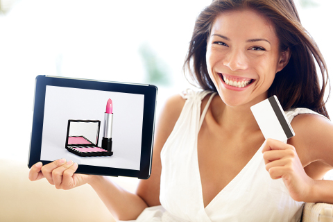 Woman holding an ipad showing product bundling