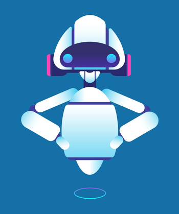White robot on a blue background